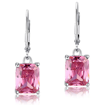 Fashion Bridesmaid Pink Dangle Earrings 925 Sterling Silver - diamondiiz.com