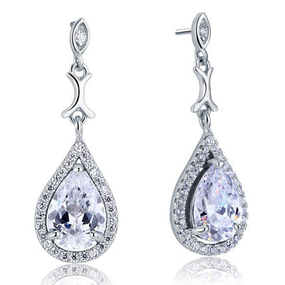 Pear Tear Drop Bridal Wedding Earrings 925 Sterling Silver - diamondiiz.com