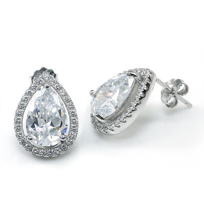 Pear Cut CZ Stud Earrings 925 Sterling Silver - diamondiiz.com