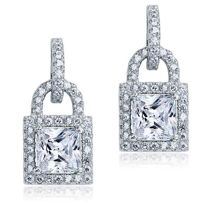 Princess Cut Key Lock Dangle Drop Earrings 925 Sterling Silver - diamondiiz.com