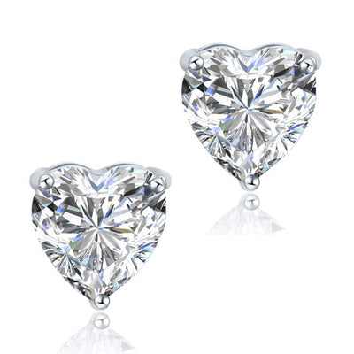 Heart Stud Bridesmaid Earrings 925 Sterling Silver - diamondiiz.com