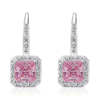 Fancy Pink Simulated Diamond Dangle Earrings 925 Sterling Silver - diamondiiz.com