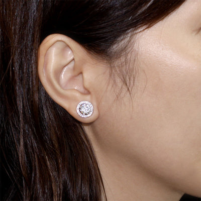 Halo (Removable) Stud Earrings Solid 925 Sterling Silver - diamondiiz.com