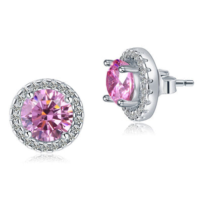 Round Pink Halo (Removable) Stud Earrings 925 Sterling Silver