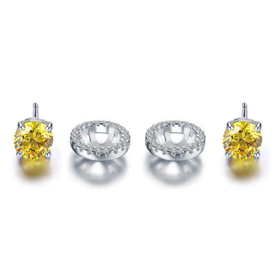 Round Yellow Halo (Removable) Stud Earrings 925 Sterling Silver - diamondiiz.com