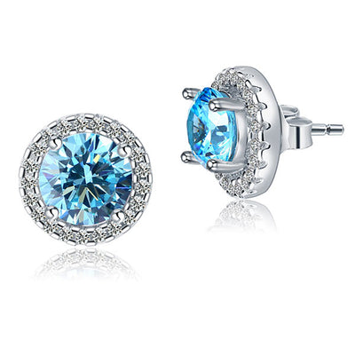 Round Aqua Blue Halo (Removable) Stud Earrings 925 Sterling Silver - diamondiiz.com