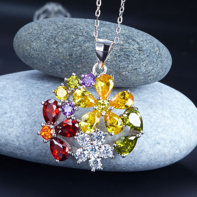 Multi-Color Flower Simulated Topaz Pendant Necklace 925 Sterling Silver - diamondiiz.com