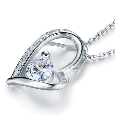 Wedding Heart Pendant Necklace 925 Sterling Silver - diamondiiz.com