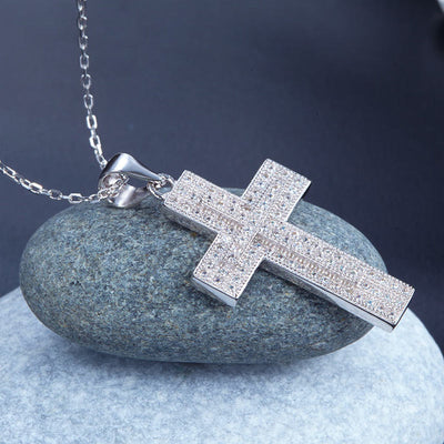 Micro Setting Cross Pendant Necklace 925 Sterling Silver - diamondiiz.com