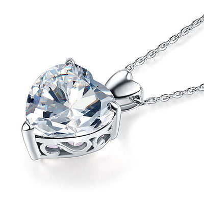 Wedding Bridal Heart Pendant Necklace 925 Sterling Silver - diamondiiz.com