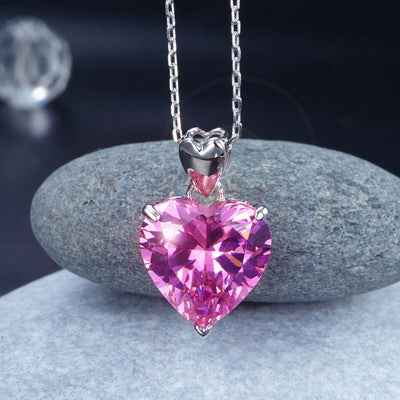 Wedding Bridal Pink Heart Pendant Necklace 925 Sterling Silver - diamondiiz.com