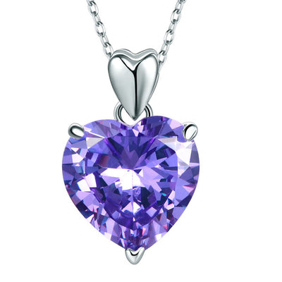 Wedding Bridal Purple Heart Pendant Necklace 925 Sterling Silver - diamondiiz.com