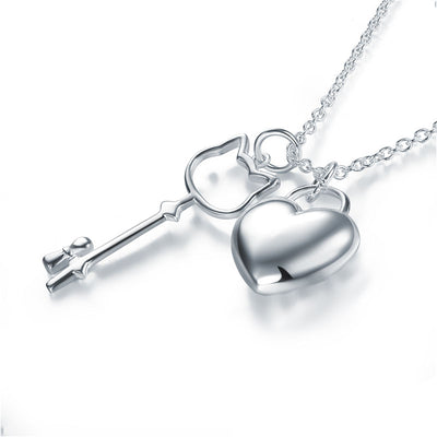 Kids Girl Heart Key Pendant Necklace 925 Sterling Silver - diamondiiz.com