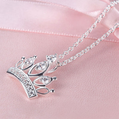 Kids Girl Crown Pendant Necklace 925 Sterling Silver - diamondiiz.com