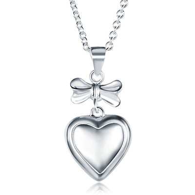 Kids Girl Ribbon Heart Pendant Necklace 925 Sterling Silver - diamondiiz.com