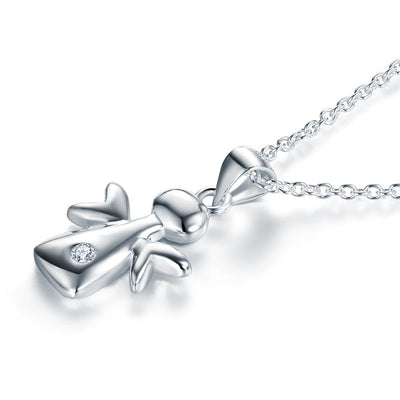 Kids Girl Angel Pendant Necklace 925 Sterling Silver - diamondiiz.com