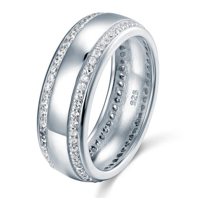 Round Cut Men's Wedding Band Solid 925 Sterling Silver Ring Jewelry