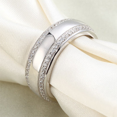 Round Cut Men's Wedding Band Solid 925 Sterling Silver Ring Jewelry - diamondiiz.com
