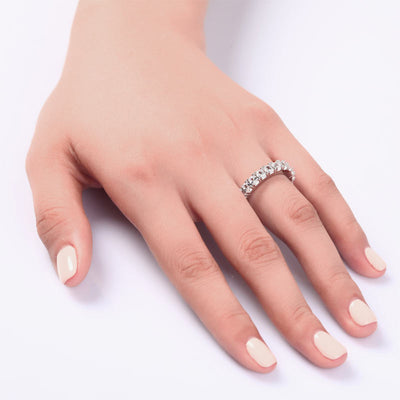 Oval Cut Eternity Solid 925 Sterling Silver Wedding Ring Jewelry - diamondiiz.com