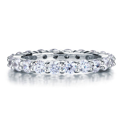 Solid 925 Sterling Silver Wedding Band Eternity Stacking Ring Jewelry Round Cut - diamondiiz.com