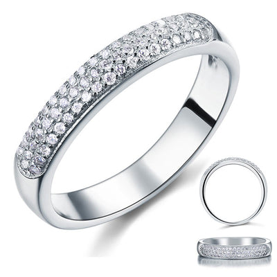 Round Cut Micro Setting Solid 925 Sterling Silver Wedding Ring - diamondiiz.com