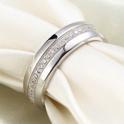 Round Cut Men's Bridal Wedding Band Solid Sterling 925 Silver Ring Jewelry - diamondiiz.com