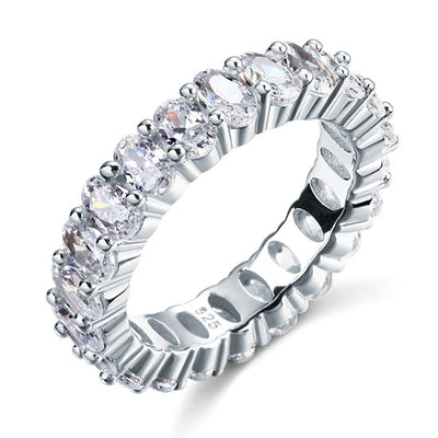 Oval Cut Eternity Solid Sterling 925 Silver Wedding Ring Band Jewelry - diamondiiz.com