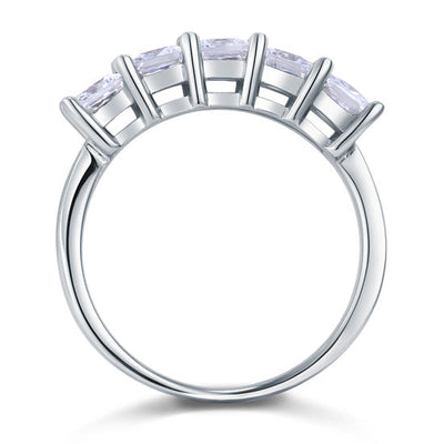 Princess Cut Five Stone 1.25 Ct Solid 925 Sterling Silver Bridal Wedding Band Ring Jewelry - diamondiiz.com