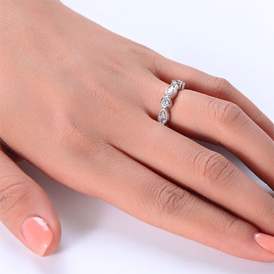 Marquise Solid 925 Sterling Silver Ring Eternity Band Wedding Jewelry - diamondiiz.com