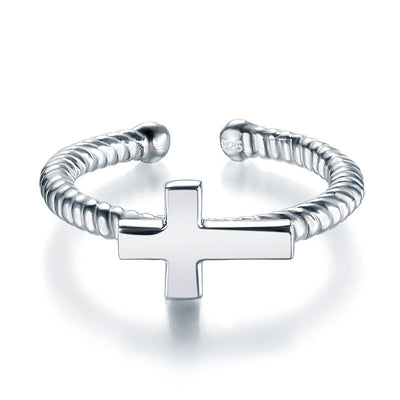 Children Kids Girls Cross Adjustable Ring 925 Sterling Silver - diamondiiz.com