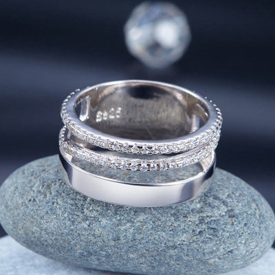 Solid 925 Sterling Silver Wedding Band Ring 2017 New Style Design - diamondiiz.com