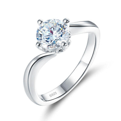 1 Carat Moissanite Diamond Swirl Solitaire Engagement 925 Sterling Silver Ring MFR8337