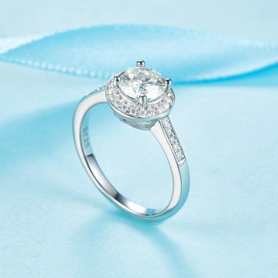 1 Carat Moissanite Diamond Ring Halo Engagement 925 Sterling Silver MFR8351