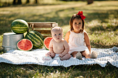 Watermelon Six Month Shoot- The Kinsley Collection Monogrammed Moccasins