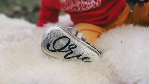 Gold Monogrammed Moccasins - The Kinsley Collection, One Year Christmas Baby Photo Shoot