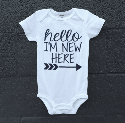 Hello, I'm New Here Onesie - The Kinsley Collection