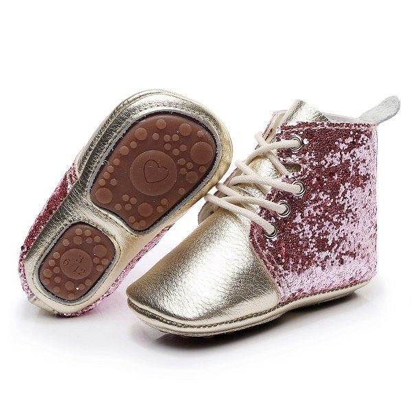 GLITTER Hard Sole- High Top Baby Shoes