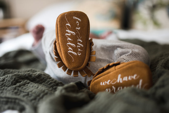 Monogrammed Moccasins - For this Child we have Prayed- by The Kinsley Collection