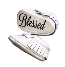White Tassel Baby Baptism Monogrammed Moccasins by The Kinsley Collection