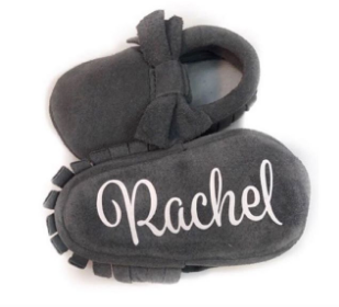 Grey Suede Bows - Monogrammed Moccasins