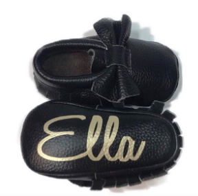 Black Leather Bows - Monogrammed Moccasins