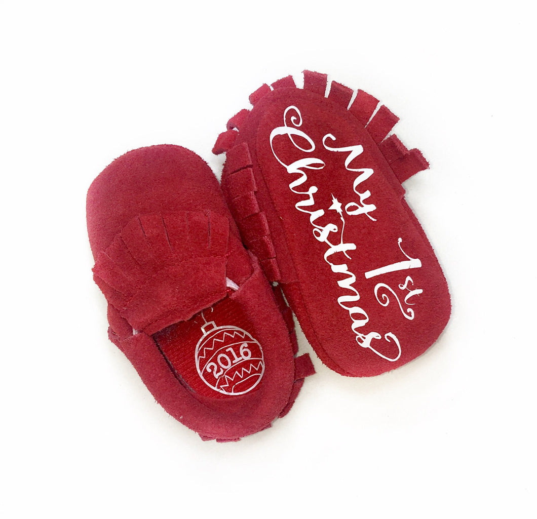 My First Christmas- Monogrammed Moccasins - The Kinsley Collection