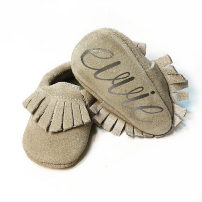 Suede Monogrammed Moccasins  - The Kinsley Collection