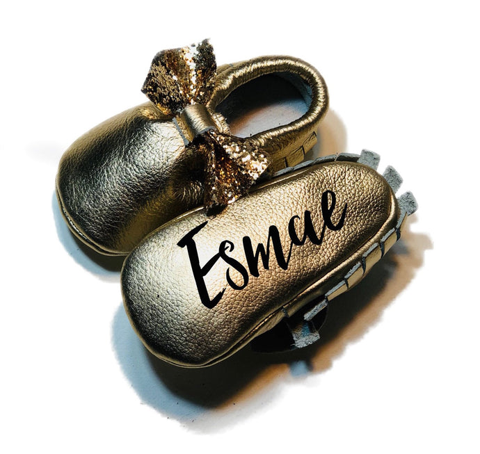 Monogrammed Baby Moccasins - Glitter Bow -  The Kinsley Collection