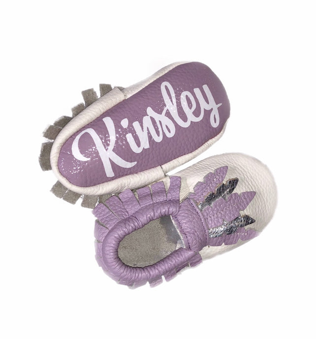Monogrammed Moccasins- Boho Feather