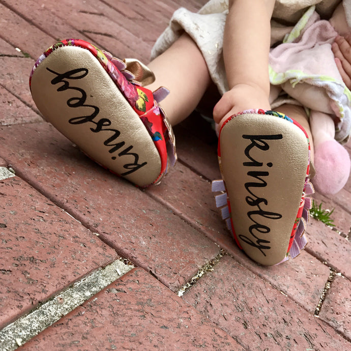 Floral Vintage Monogrammed Moccasins - The Kinsley Collection