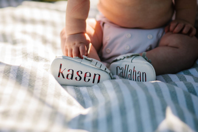 Monogrammed Baby Moccasins -Buffalo Plaid by The Kinsley Collection