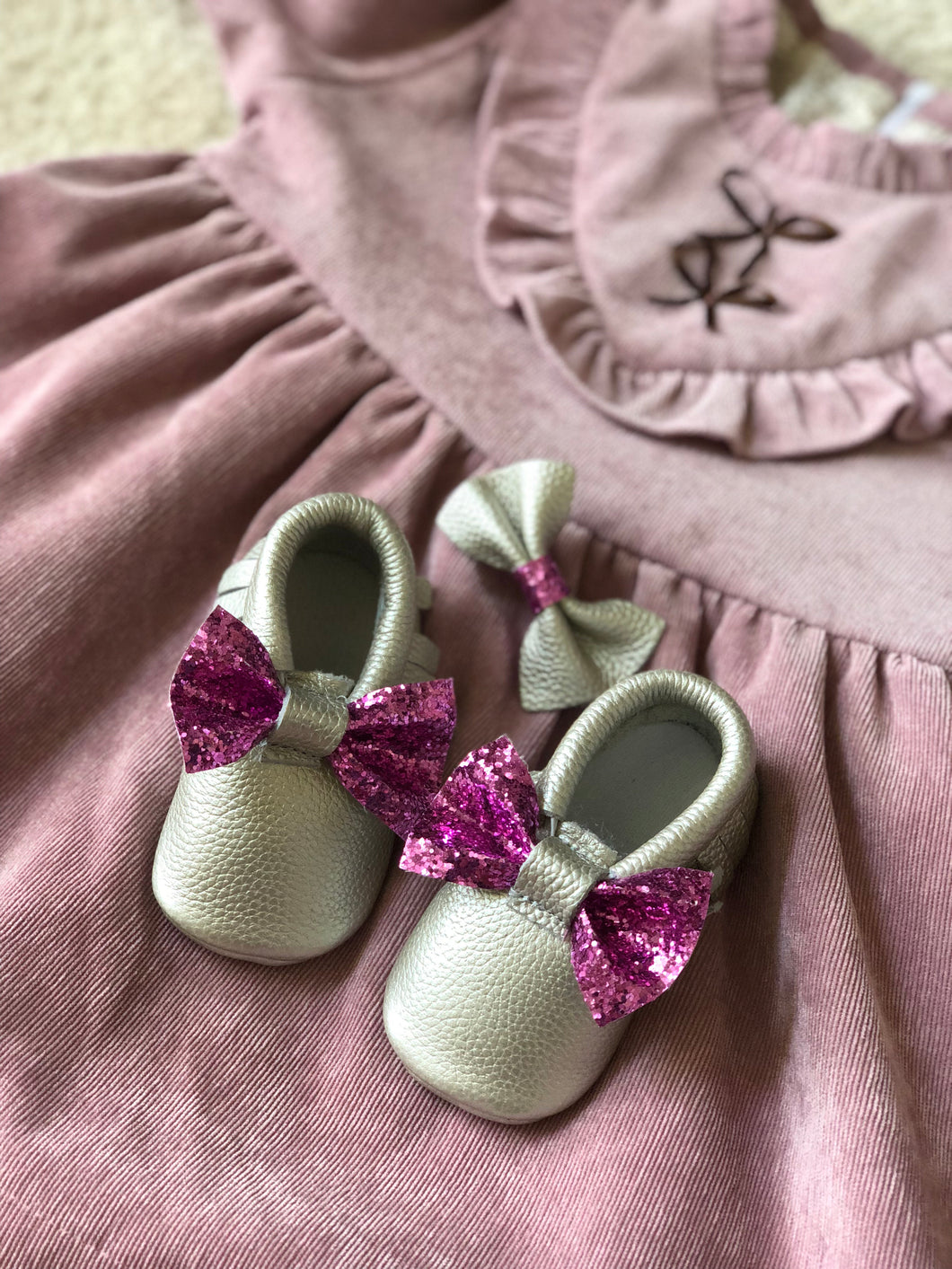 Monogrammed Moccasins with Glitter Bow & Matching Hair Bow