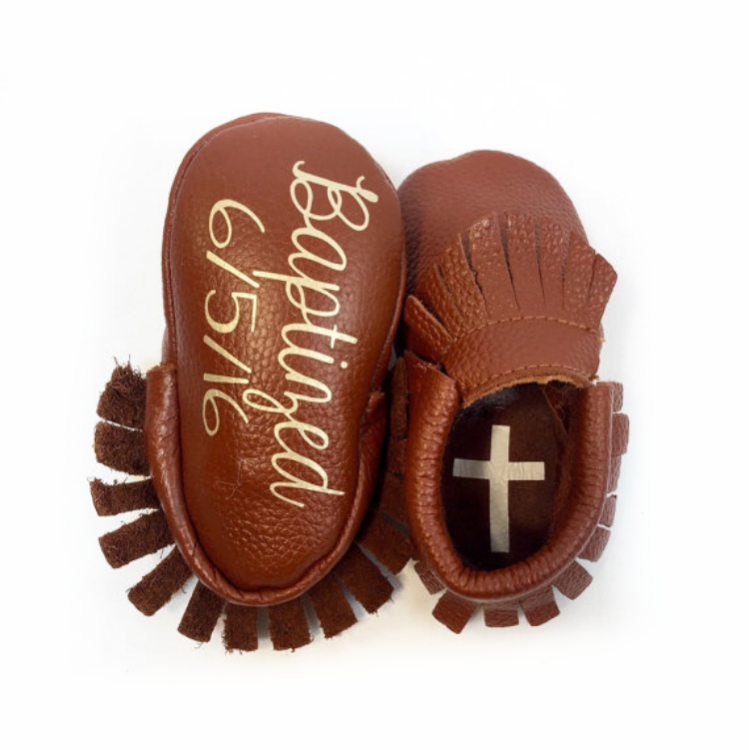 Monogrammed Moccasins - Heart or Cross Soles Add On The Kinsley Collection
