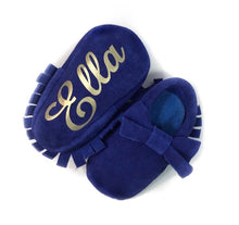 Suede *BOW* Monogrammed Baby Moccasins - The Kinsley Collection